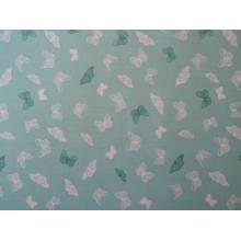 Плат Poplin бяло - зелени пеперуди на ментово зелен фон - 50 х 50 см