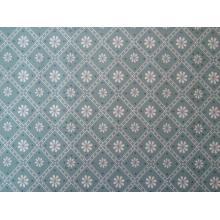 Плат Poplin цветя в квадратчета на сиво- зелен фон - 50 х 50 см