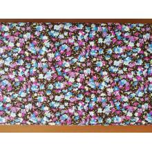Плат Poplin - Шарени цветчета на кафяв фон - 50 х 50 см