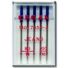 Игли Organ JEANS за дънки - 5 бр. от № 90 до № 100