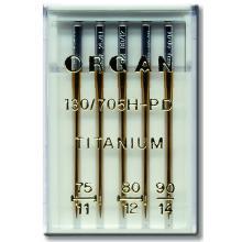 Игли Organ TITANIUM - 5 бр. от № 75 до № 90