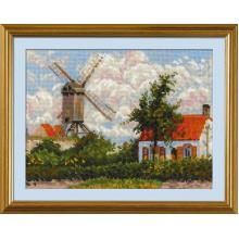 Гоблен Риолис 1702 Windmill at Knokke after C. Pissarro's Painting