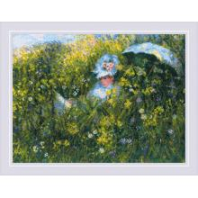 Гоблен Риолис 1850 На поляната, по картина на Клод Моне