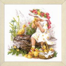 Гоблен Риолис 1781 Girl with Ducklings (Момиченце с патенца)