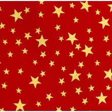 Плат Christmas Brocade 136 - Звезди на червен фон, 50 х 46 см