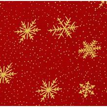 Плат Christmas Brocade 143 - Златни снежинки на червен фон - 50 х 46 см