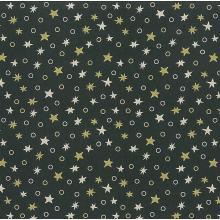 Плат Christmas Brocade 168 - Звезди на зелен фон, 50 х 46 см