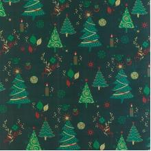Плат Christmas Brocade 218 - Коледни елхи на зелен фон, 50 х 46 см