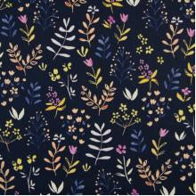 Плат Органик Клонки и цветя в тъмно синьо - 100% био памук, 50 х 46 см
