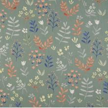 Плат Органик Клонки и цветя в зелено - 100% био памук, 50 х 46 см