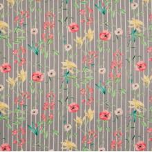 Плат Poplin - Флорално пепеляво райе - 50 X 46 см