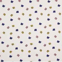 Плат Poplin - Пeперуди на бял фон - 50 X 46 см