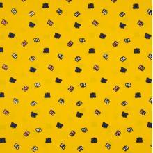 Плат Poplin - Пеперуди на ярко жълт фон, 50 х 46 см