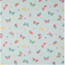 Плат Poplin Пеперуди на ментов фон - 50 х 46 см