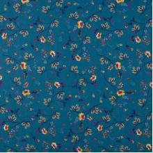 Плат Poplin Оранжеви цветя на син фон - 50 х 50 см