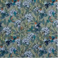 Плат Poplin Птици сред цветята в синьо и зелено - 50 х 46 см
