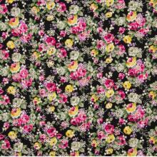 Плат Poplin рози на черен фон 50 х 50 см