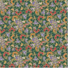 Плат Батик Индонезия, зелен фон - 50 х 46 см
