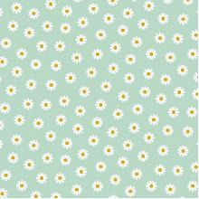 Плат Poplin Нежни маргарити на ментово зелен фон - 50 х 50 см